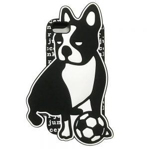 おシリ犬+4 iPhone6/6S/7/8 兼用シリコンケース (ブラック)